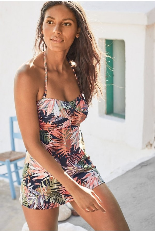 Retro Ruched Swim Dress