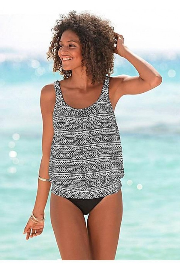 MIX PRINT TANKINI SET SWIMSUIT