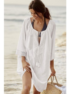 Boho Lace Splicing Elbow Sleeve Tunic Cover Up