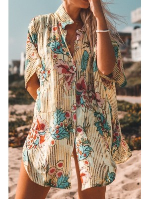 Floral Print Buttoned Cover Up