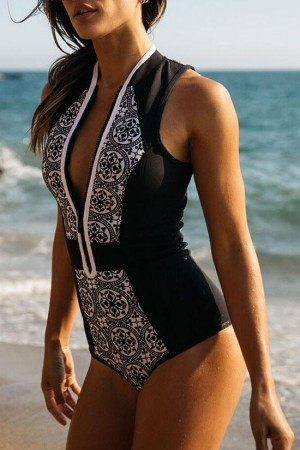 Black Sporty Zippered One Piece Swimsuit