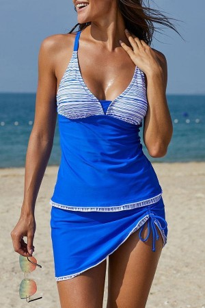 Stripe Print Drawstring Side Tankini Set