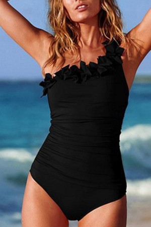 One Shoulder Solid One Piece Swimwear