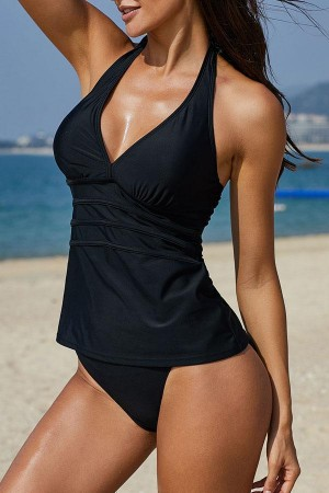 Halter Neck Solid Black Tankini Set
