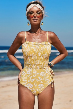 Yellow Fashion Side Tie Flower Print One Piece Swimsuit