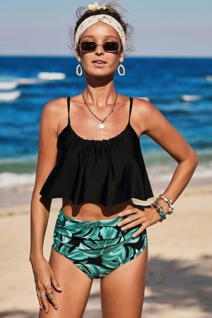 Black Ruffle Top High Waist Bottom Bikini Swimsuit