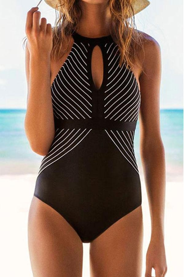 Cutout Front Stripe Print One Piece Swimsuit