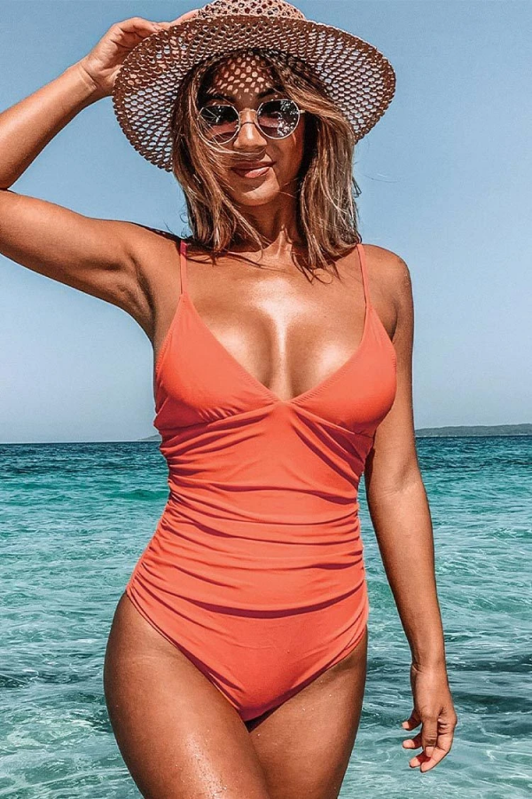 BRIGHT DAY SHIRRING ONEPIECE SWIMSUIT