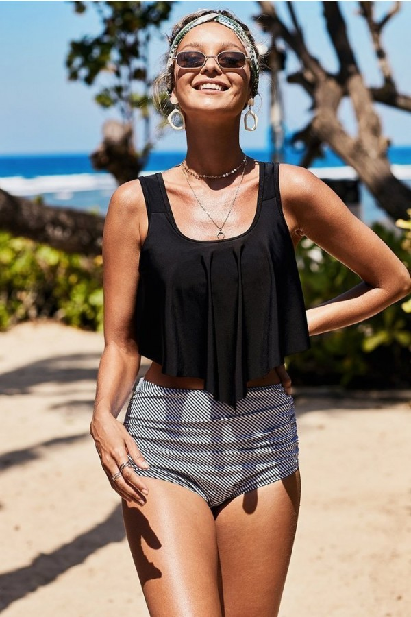 PRINT CROP RUFFLED OVERLAY HIGH WAIST BIKINIS