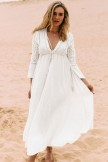 Flowy Deep V Drawstring Empire Waist Maxi Cover Up