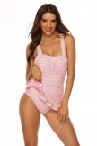 Open Back Ruched Halter Tankini Set