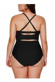 Strappy Neck Detail High Waist Bikini Swimsuit