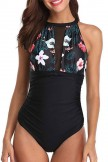 Flower Print Patchwork Design One Piece Swimsuit