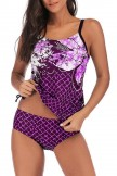 Plus Size Drawstring Side Printed Tankini Set