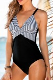 Stripe Print Patchwork Design One Piece Swimwear