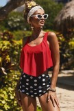 Patriotic Print Crop Ruffled Overlay High Waist Red Bikinis
