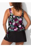 DERBY SIDE TIE BLOUSON TANKINI WITH BLACK SKIRT