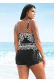Black & White Baroque Printed Tankini Set