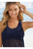 Dark Blue Crochet Lace Tankini Set