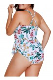 Tropical Floral Print One Piece Tankini Swimsuit