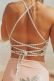 Vertical Striped Lace Up Back High Neck Crop Bikini Swimsuit